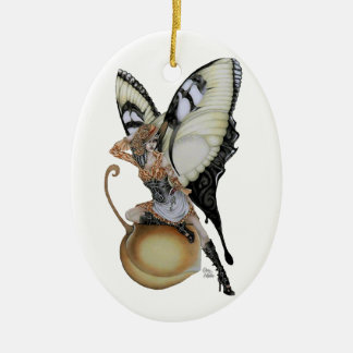 Southern Bellepunk Swallowtail Double-Sided Oval Ceramic Christmas Ornament