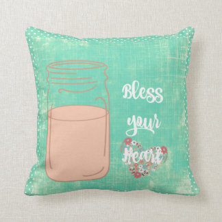 Southern Bless Your Heart w/Mason Jar Throw Pillow