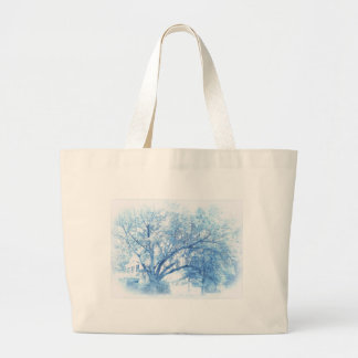 Southern Blue Oak Toile Large Tote Bag