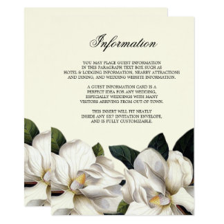 Southern Botanical Wedding Information Insert Card
