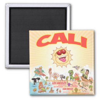Southern California Cali Cartoon Magnet