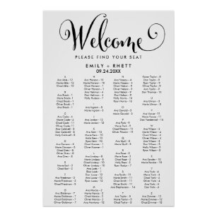 Southern Calligraphy Alphabetical Seating Chart