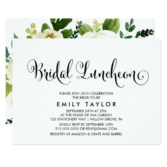 Southern Calligraphy Floral Back Bridal Luncheon Invitation
