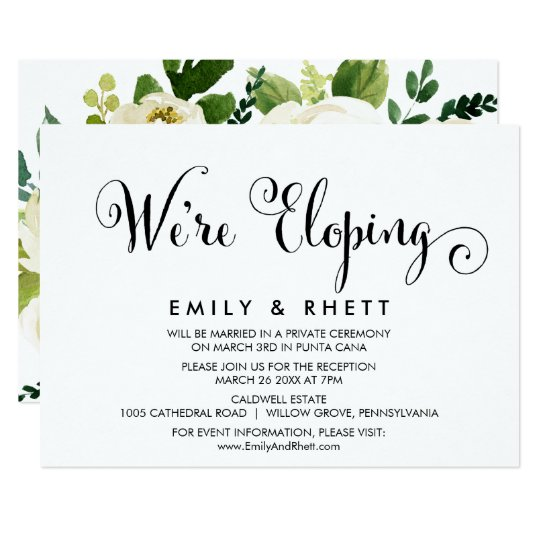southern calligraphy floral elopement reception invitation