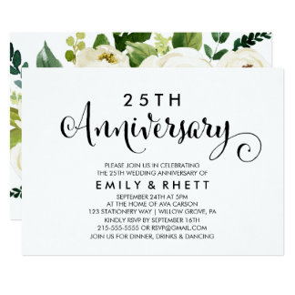 Southern Calligraphy | Floral Wedding Anniversary Invitation
