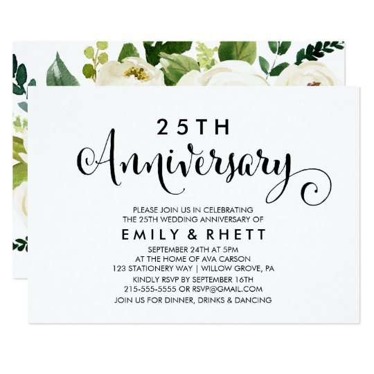 Southern Calligraphy Floral Wedding Anniversary Invitation