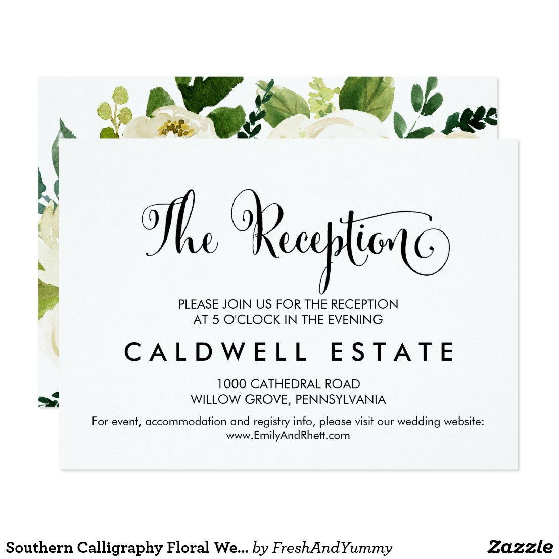 Southern Calligraphy | Floral Wedding Reception Card