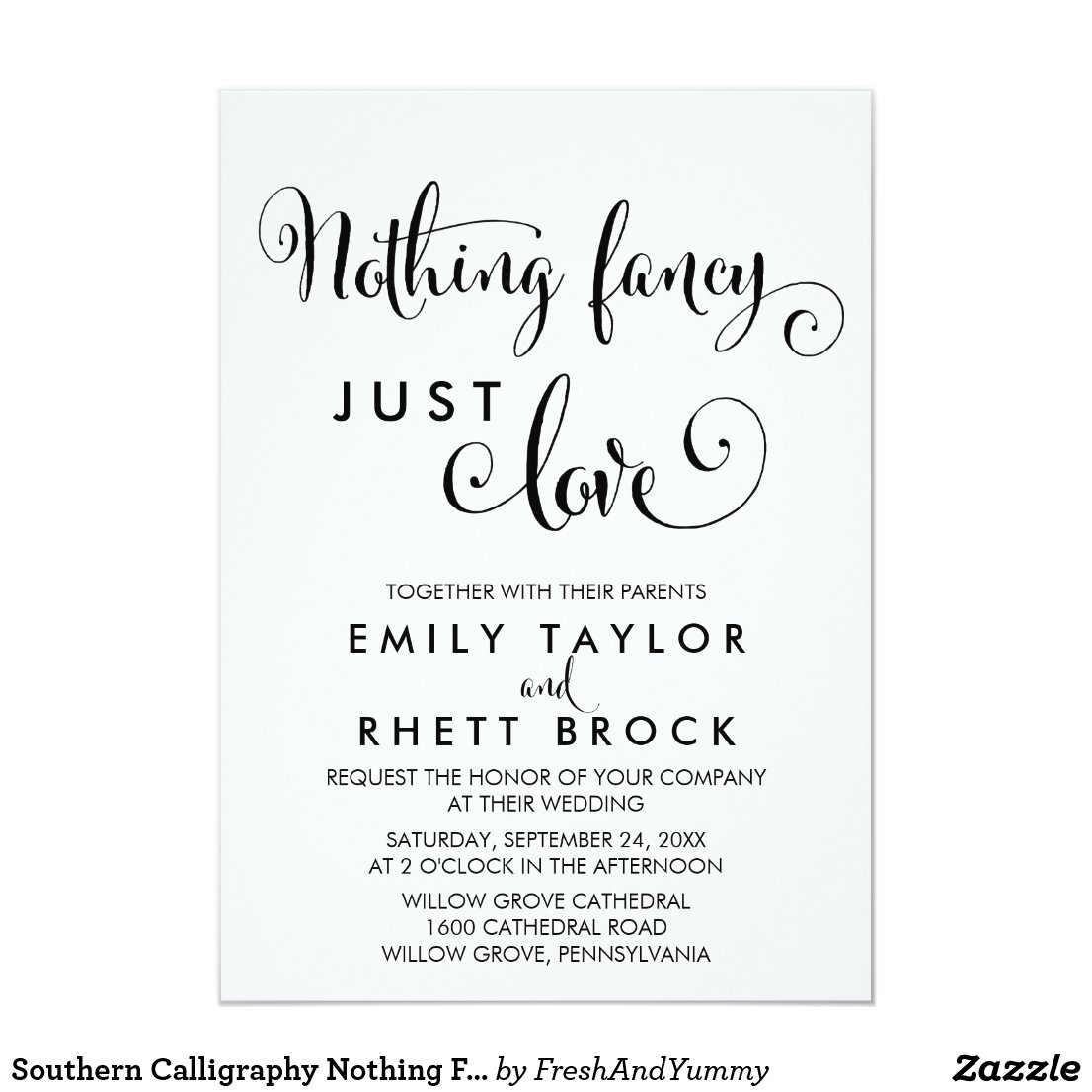 Southern Calligraphy Nothing Fancy Just Love Card
