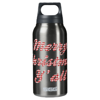 Southern Christmas Greeting Houndstooth Insulated Water Bottle