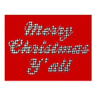 Southern Christmas Greeting Houndstooth Post Card