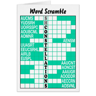 Southern Constellations Word Scramble Card