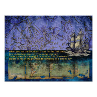 Southern Cross Constellation and Old World Map Poster