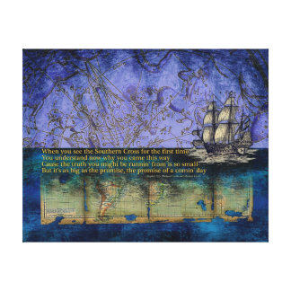Southern Cross Constellation Star Old World Map Stretched Canvas Prints