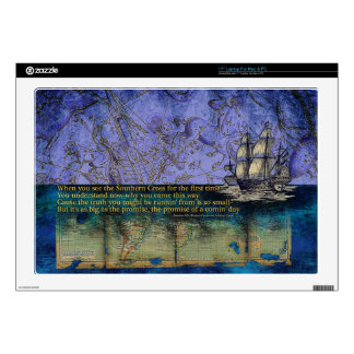 """Southern Cross Old World Constellation and Map 17"""" Laptop Decal"""