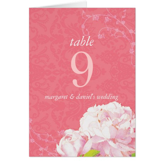 Southern Elegance Wedding Table Number Folded Card