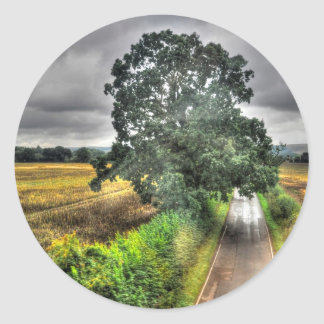 Southern England Country Road & Pasture Scene Round Stickers