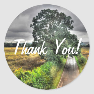 Southern England Country Road Thank You Round Sticker