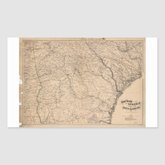 Southern Georgia and part of South Carolina (1865) Rectangular Sticker