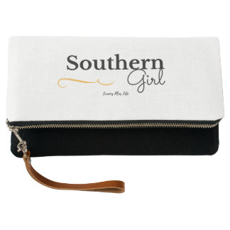 """""""Southern Girl"""" Fold Over Clutch in Black & White"""