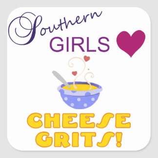 Southern Girls Love Cheese Grits Square Sticker