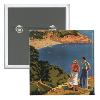 Southern/Great Western Rail Couple on Cliff 2 Inch Square Button