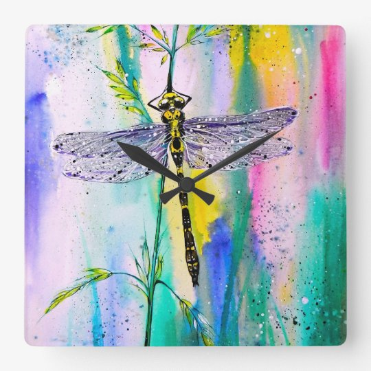 Southern Hawker Dragonfly Square Wall Clock