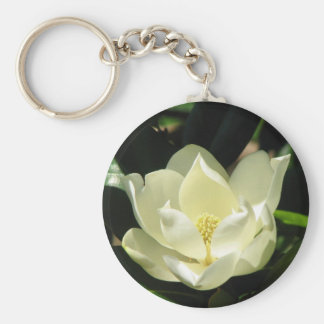 Southern Magnolia Basic Round Button Keychain