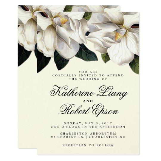 Southern Magnolia Botanical Wedding Invitation Zazzle Com