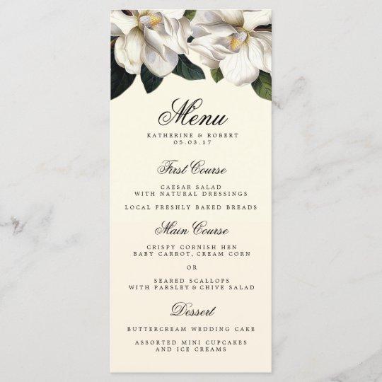 bb112550a13f Southern Magnolia Botanical Wedding Menu Card | Zazzle.com