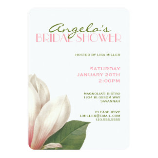 Southern Magnolia Bridal Shower   Pink White Green Card