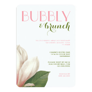 Southern Magnolia Bubbly Brunch | Pink Green White Card