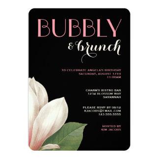 Southern Magnolia Bubbly Brunch | Pink Ivory Black 5x7 Paper Invitation Card