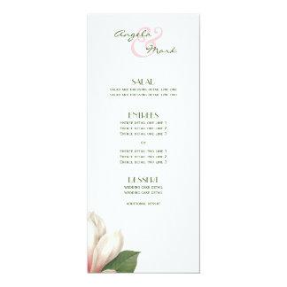 Southern Magnolia Flower Menu   Pink White Card