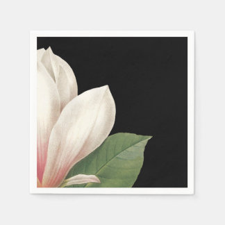 Southern Magnolia Flower | Pink White Black Standard Cocktail Napkin