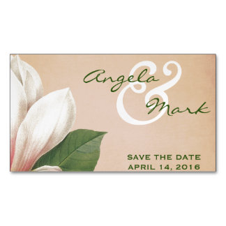 Southern Magnolia Flower Save Date | Antique Blush Magnetic Business Card
