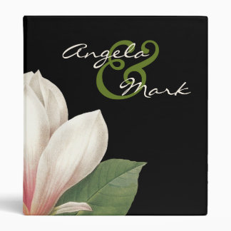 Southern Magnolia Flower Wedding | Elegant Black 3 Ring Binder