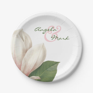 Southern Magnolia Flower Wedding   Pink and White Paper Plate