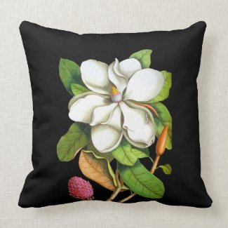 Southern Magnolia on Black Indoor Pillow
