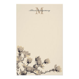 Southern Magnolias & Taupe Name & Initial Stationery
