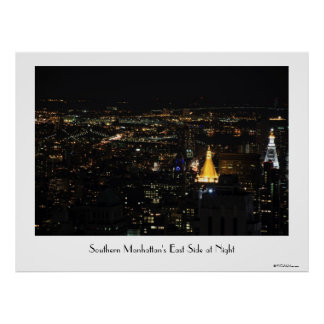 Southern Manhattan's East Side at Night 001 Print