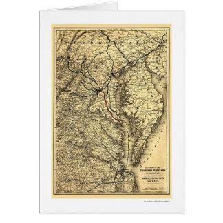 Southern Maryland Railroad Map 1881 Card