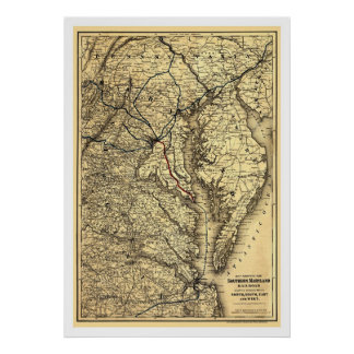 Southern Maryland Railroad Map 1881 Print