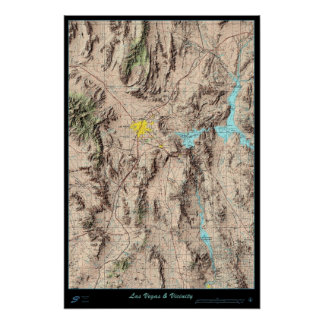 Southern Nevada Map, USA satellite poster