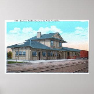 Southern Pacific Depot, Santa Rosa Vintage Poster