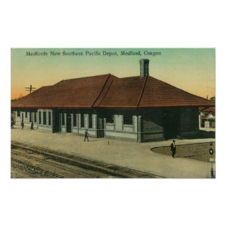 Southern Pacific Railroad Depot in Medford, OR Poster