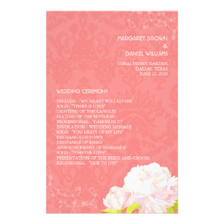 Southern Peony Theme Wedding Programs (5.5x8.5)