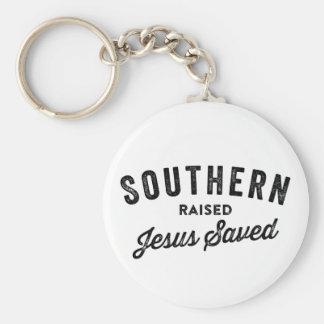 Southern raised jesus saved Keychain