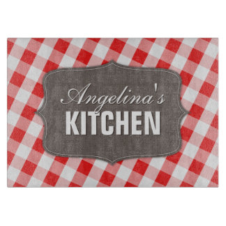 Southern Red Gingham Rustic Glass Cutting Board