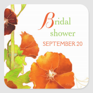Southern Red Hollyhocks Bridal Shower Square Sticker