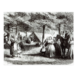 Southern refugees encamping in the woods postcard
